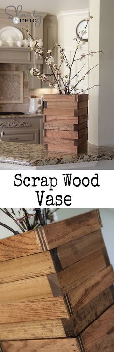 Love it!  I'm totally doing this for my mother-in-law for Mother's Day.   - Easy DIY Vase made from scrap wood!  Love this!