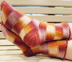 The construction of these socks is very interesting and is a great use of self striping yarns!