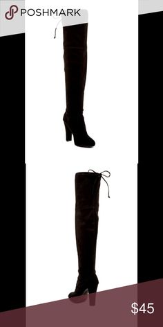 Knee high boots-NEW! This faux suede boot features a tall shaft and is finished with a chunky block heel that offers both height and comfortable.  Sizing: True to size. M=medium/standard width  - Almond toe - Topstitched detail - Covered block heel Shoes Over the Knee Boots