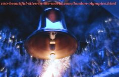 London Olympics 2012. Bell, fireworks and reflection of the blue lights