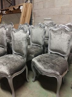 Baroque Dining Chair Painted Antique Silver And Upholstered In Velvet By Hidden Mill Create