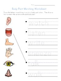 best body worksheets images  kids worksheets worksheets for  body part actions matching worksheet for kids trace the letters to write  basic actions that can be performed by some of the basic body parts and  then match