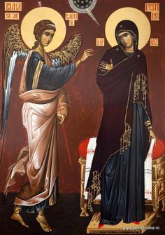 Annunciation by Angela Hanc Byzantine Icons, Byzantine Art, Religious Icons, Religious Art, Roman Church, Christian Artwork, Life Of Christ, Russian Icons, Photography Illustration