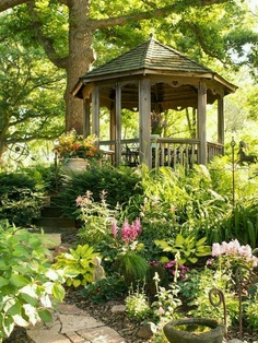 Gazebo on a shady hillside, because we old folks like to pause & catch our breath after climbing the path!