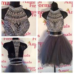 Wholesale Prom Dresses - Buy Hot Sale Grey See Through Prom Dresses Two Piece Short Design Dress Sexy Crew Sleveless A Line Crystal Beads Tulle Homecoming Party Dresses,