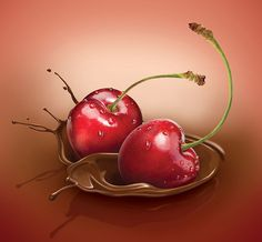 Kim martin Illustration Portfolio – Photo realistic illustrator, lettering designer for food products Fruits Drawing, Food Drawing, Cherry Drawing, Portfolio Photo, Chocolate Drawing, Fruit Splash, Ice Cream Art, Dessert Illustration, Coffee Shop Logo