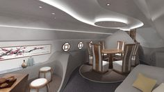 This Private Boeing Business Jet Cabin Design Offers Feng Shui at Feet