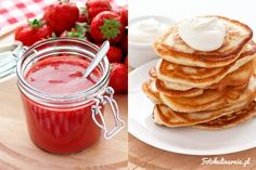 Sour milk polish pancakes with strawberry sauce - Racuchy