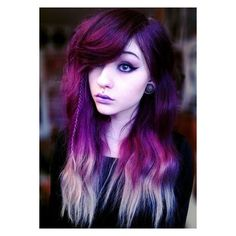 Purple Hairstyles- These 50 Cute Purple Shade Hairstyles You Cant... ❤ liked on Polyvore featuring beauty products, haircare, hair, people and girls