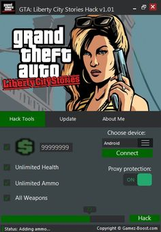 "Download - http://gamez-boost.com/grand-theft-au... 1.Download Grand Theft Auto Liberty City Stories Android Hack 2.Connect you phone to computer with USB 3.Run Grand Theft Auto Liberty City Stories on your device 4.Now open Grand Theft Auto Liberty City Stories Android Hack 5.Select your operating system,click ""Connect"" and wait  6.Choose how many resources do you need 7.Check proxy protection option and click ""Hack"" 8.Thats it ! Check my facebok - https://www.facebook.com/GamezBoostt/"