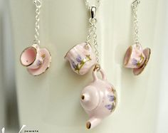 Miniature porcelain pink tea set jewelry set with tea pot pendant, tea cup earrings, sterling silver necklace and ear rings