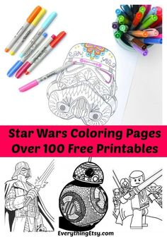 Star Wars Free Printable Coloring Pages for Adults & Kids {Over 100 Designs!} (Everything Etsy) - Star Wars Free Printable Coloring Pages for Adults & Kids {Over 100 Designs! Star Wars Coloring Book, Coloring Book Pages, Coloring Sheets, Star Wars Birthday, Star Wars Party, Printable Star, Free Printables, Free Coloring, Coloring Pages For Kids