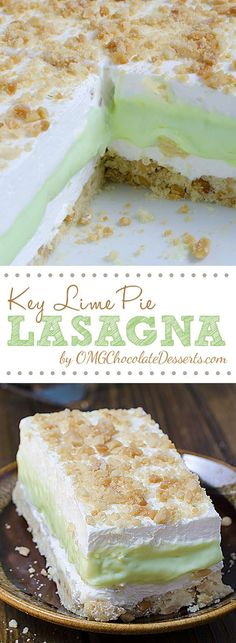 Key Lime Pie Lasagna is cool, light and creamy summer dessert with sweet and tart layers of yumminess.