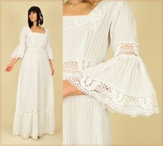 ViNtAgE 1970's  White Crochet Lace Angel Wing Mexican Wedding Maxi Dress. $158.00, via Etsy.