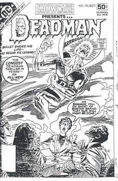 Original art for the cover to be used for Showcase #105 featuring Deadman. Art by Jim Aparo. Unedited story ran in Cancelled Comics Cavalcade #2 with Len Wein plot, Gerry Conway script & Jim Aparo art. Edited & printed in Adventure Comics #464.