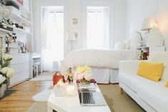 An all-white scheme gives a light, airy feel to fashion lover Dria Murphy's West Village studio.