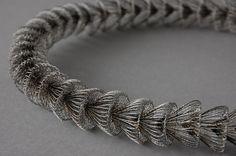 Ines Schwotzer--Necklace in steel wire bobbin lace Lace Jewelry, Metal Jewelry, Jewelry Crafts, Jewelry Art, Jewelry Design, Unique Necklaces, Jewelry Necklaces, Wire Crochet, Bobbin Lace