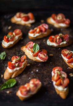 Tomato crostini with whipped goats cheese | DrizzleandDip.com