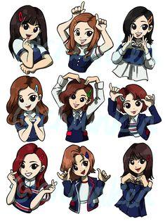Set of 9 stickers of all members of twice. Nayeon, Kpop Wallpaper, Bts K Pop, Sana Cute, Oppa Gangnam Style, Twice Fanart, Yoonmin Fanart, Chaeyoung Twice, Kpop Drawings