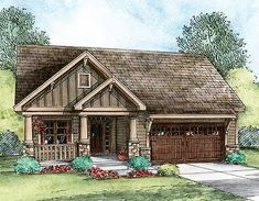 Plan Narrow Lot, Craftsman, Sloping Lot, Northwest, Photo Gallery House Plans & Home Designs Small House Plans, House Floor Plans, Three Bedroom House Plan, Craftsman Cottage, Craftsman Bungalows, Rustic Exterior, D House, Cottage House, Cottage Living