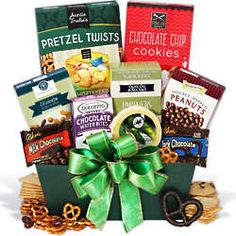 This yummy St. Patrick's Day gift basket is so good they will have to hide it from hungry leprechauns the whole season. Complete with a vibrant green bow, this lovely gift basket features an assor . Chocolate Wafers, Chocolate Gifts, Chocolate Chip Cookies, Snack Recipes, Snacks, Gift Baskets, Pop Tarts, Sweet Treats, Candy