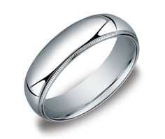 Price: $420.00 Men's 14k White Gold 6mm Comfort Fit Milgrain Wedding Band Ring, Size 11.5