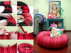 DIY Tire Tube Seating (projects, crafts, DIY, do it yourself, interior design, home decor, fun, creative, uses, use, ideas, inspiration, 3R's, reduce, reuse, recycle, used, upcycle, repurpose, handmade, homemade, materials, create)