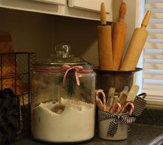 Ribbon around canisters to give it some holiday flare