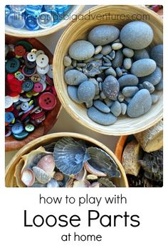 Playing with Loose Parts at Home: an oversight Read how you can easily get started exploring loose parts at home in these 5 types of play: imaginative play, construction play, artistic play, outdoor play, and sensory play. Little Worlds Big Adventures Home Daycare, Daycare Forms, Types Of Play, Small World Play, Play Based Learning, Early Learning, Kids Learning, Sensory Play, Sensory Tubs