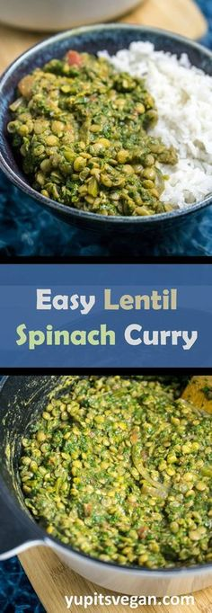 Easy Lentil Spinach Curry - flavorful spiced lentil curry full of buttery spinach and served with the best rice ever! #vegan #glutenfree #curry