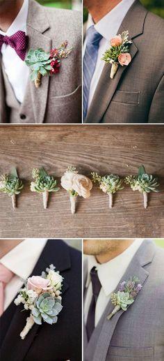 DIY succulent groom and groomsmen Boutonnieres