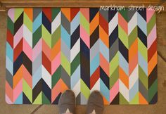 markham street design: Chevron Painted Kitchen Mat. SO Cute! Want to do with lime green and gray!