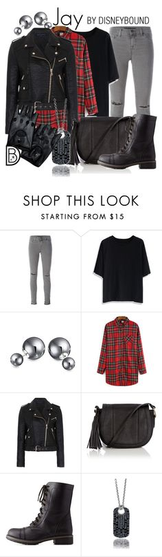 """""""Jay"""" by leslieakay ❤ liked on Polyvore featuring J Brand, Chicwish, Bling Jewelry, French Connection, Warehouse, Charlotte Russe, Halloween, disney, disneybound and disneycharacter"""