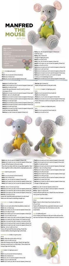 #crochet, free pattern, Mouse, amigurumi, stuffed toy, #haken, gratis patroon (Engels), muis, knuffel, speelgoed, #haakpatroon