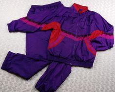Vtg 80s 90s Jogging/Track Suit Sz Small Nylon Windbreaker Shiny Bright Sunterra #Sunterra #TracksuitsSweats