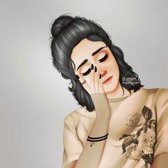 @Nor Syafiqah Girly M, Girly Girl, Heartbreak Wallpaper, Sarra Art, Cute Girl Drawing, Girly Pictures, Sad Girl, Facon, Powerful Women