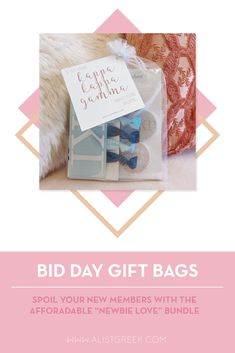 Spoil your new members this recruitment with the Newbie Love bundle! Gift bag includes a sorority decal, hair tie set, and button set. Kappa Kappa Gamma Gifts | Kappa Kappa Gamma Bid Day | Kappa New Member Gifts | KKG Rush Gift Bags | Kappa Kappa Gamma Recruitment | Sorority Bid Day | Sorority Recruitment | Bid Day Bags | Sorority New Member Gift Ideas #BidDayGifts #SororityRecruitment Omega Alpha, Alpha Epsilon Phi, Kappa Kappa Gamma, Alpha Sigma Alpha, Sorority Bid Day, Sorority Recruitment, Bid Day Gifts, Letter Decals, Elastic Hair Ties