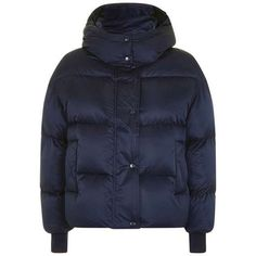 The Puffball Puffer Jacket by Boutique ($210) ❤ liked on Polyvore featuring outerwear, jackets, navy blue puffer jacket, hooded zip jacket, zip jacket, topshop jackets and navy jackets