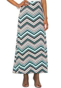 Cato Fashions Mixed Chevron Maxi Skirt-Plus #CatoFashions