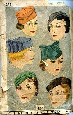 Simplicity pattern for depression era make at home hats. To book a Retrospective Millinery Fashion Show or Victoriana exhibit, for your tea, fundraiser or seniors' event, contact www.thehatmuseum.org. The Mobile Millinery Museum...we bring history to you!