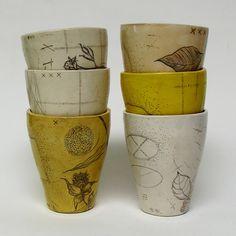 Diana Fayt  pottery Yellow Tumblers
