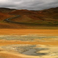 Hverir, Northern Iceland by Ben H. - road winds through this landscape filled with bubbling mud pots and other geothermal activity   http://www.flickr.com/photos/benh1/sets/72157615737941820/with/2814606284/ #photography
