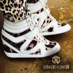 """✔️Roberto Cavalli ᴡᴇᴅɢᴇ Sneakers 38 ✨✨✨✨✨✨✨✨✨100% Authentic Roberto Cavalli Wedge sneakers. Custom special order. Worn twice. Size 38 original box included. Heels 3.51"""" Leopard material combine with snake embossed Leather. Roberto Cavalli Shoes Heels"""