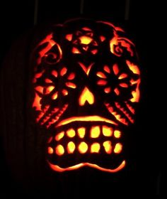 Dia De Los Muertos Carved Pumpkin Skull Art Crafts