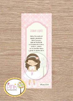 First Communion Favor Cards/ Bookmark / by PinkCajasyTarjetas First Communion Favors, Baptism Invitations, Bookmarks, Prayers, Card Making, Lily, Creative, Prints, Bb