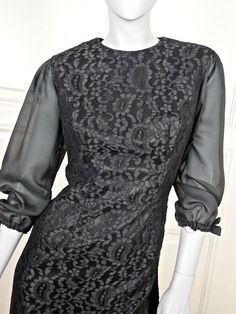 Paisley Lace 1970s Little Black Dress, Hungarian Vintage Black Lace Cocktail Dress, Midi Sheer Sleeves LBD: Size 10 US, Size 14 UK by YouLookAmazing on Etsy