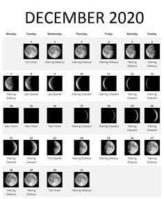 December 2020 Lunar calendar with all phases of Moon available here in white template. #december #calendar2020 #printable #december2020 #mooncalendar New Moon Calendar, Desktop Calendar, Calendar Wallpaper, Blank Calendar, 2019 Calendar, New Moon Phase, Lunar Phase, December Full Moon, Monthly Calendar Template