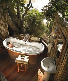 Eagle Island Lodge for extreme luxury in Okavango Delta Botswana. Luxury Okavango Delta Safari at Eagle Island. Outdoor Bathtub, Outdoor Bathrooms, Outdoor Showers, Tropical Bathroom, Bohemian Bathroom, Honeymoon Suite, Honeymoon Registry, Beautiful Hotels, Unique Hotels