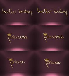 Golden Hello Baby Princess Prince Pack Flat and 3D Style Print Digital Instant Download Baby Shower Pack jpeg png