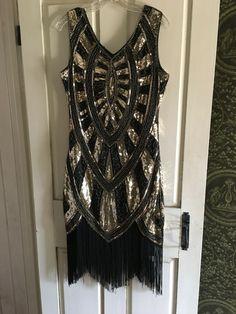 4c7e29a00cd Women Sparkle Glitzy Glam Sequin Tassel Long Sleeve Flapper Party Club Dress  NWf